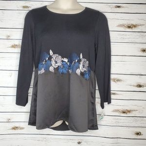 Alfani Black Top 0X Blue Floral Embroidered